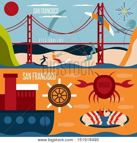 San Francisco Landmarks , Seafood And Kite Surfing Horizontal Flat Design Vector Banners