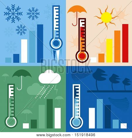 Thermometer And Condition Of Weather Horizontal Flat Design Vector Banners