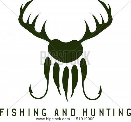 Fishing And Hunting Illustration With Deer Horns,paw Of Bear And Fishing Hooks