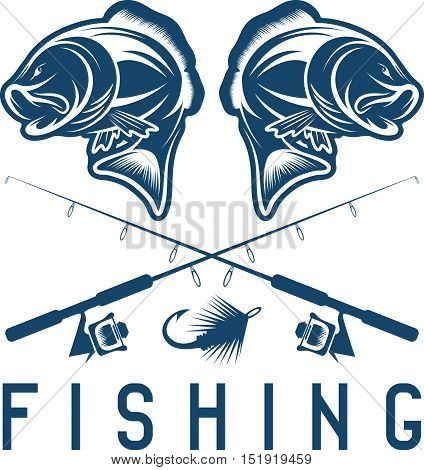 Vintage Fishing Vector Design Template With Largemouth Bass