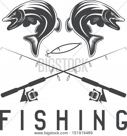 Vintage Fishing Vector Design Template With Pike