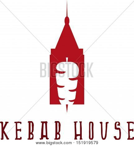 Gyros Doner Kabob With Authentic Arabic Building Isolated Vector Negative Space Concept