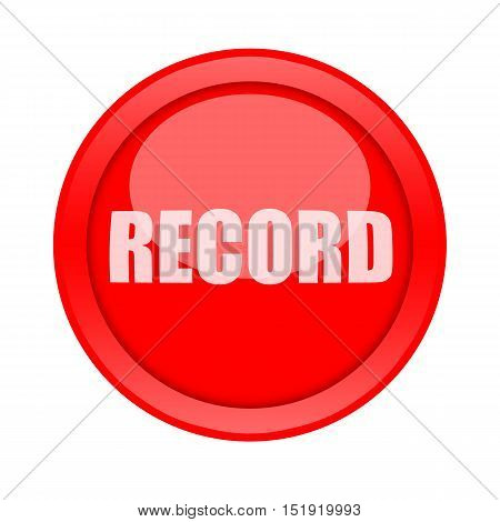Record red glossy round button isolated on white background