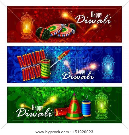 easy to edit vector illustration of decorated diya with cracker for Happy Diwali holiday background