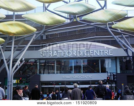 London England - October 6 2016: The entrance to Stratford Centre in the London borough of Newham