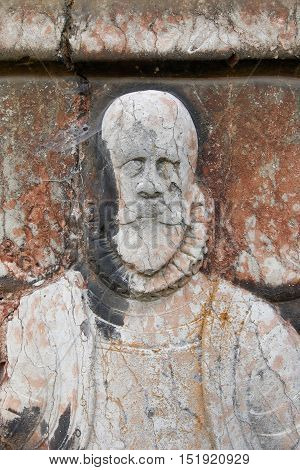 Gravestone of the Renaissance nobleman on church wall