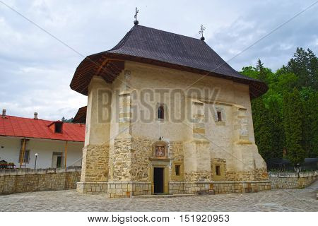 Ancient stone church at Pangarati monastery in Moldavia