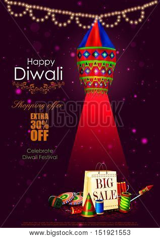 easy to edit vector illustration of Happy Diwali shopping sale offer with hanging lamp and fire cracker for India festival