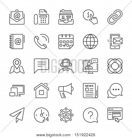 basic contact and communication icon set thin line black color