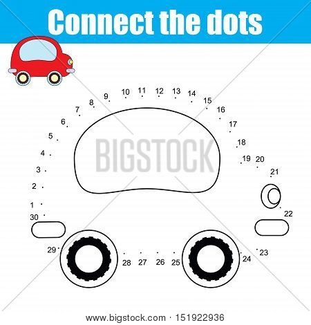 Connect the dots children educational drawing game . Dot to dot by numbers game for kids. Transport theme for pre school age. Printable worksheet activity