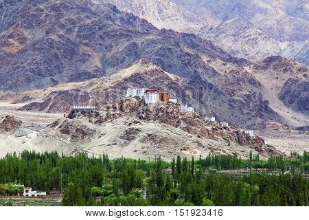 Thiksey Gompa in Ladakh Jammu and Kashmir India. The monastery is located in the Indus Valley. It is a twelve-story complex and houses many items of Buddhist art