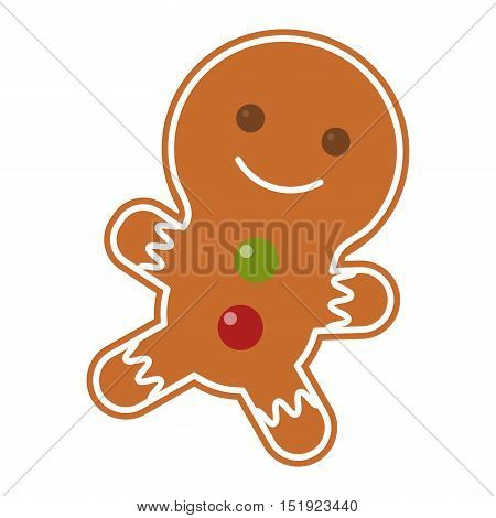 Sweet Christmas cookie isolated on white. Traditional Christmas sweet cookie holliday vector. Cake for New Year food sweet vector. Food fresh cookie isolated