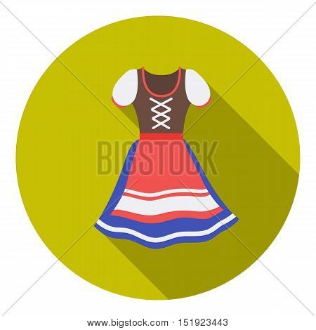 Dirndl icon in flat style isolated on white background. Oktoberfest symbol vector illustration.