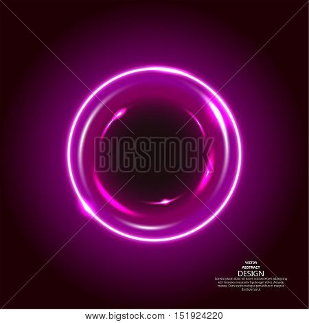 The abstract shining background. A round banner and the sparkling curved lines. Space concept of a chasm. A violet circular object with bright flashes. A vector illustration in futuristic style.