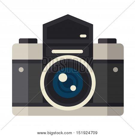 Photo camera vector. Camera photography isolated symbol photograph digital equipment. Retro technology camera vintage element sign film.