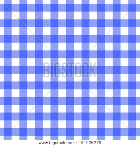 Seamless blue gingham pattern. Traditional print for tablecloths, banqueting rolls, placemats, disposable napkins, drawer & shelf liners. Classic check design for shirts, pajama & bedding sets.