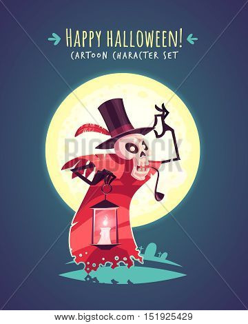 Funny Halloween hatter skull. Vector character illustration