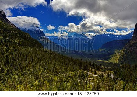 Scenic landscape view of Glacier National Park at Lunch Creek. Location is Montana United States. Date is autumn September 9 2016.