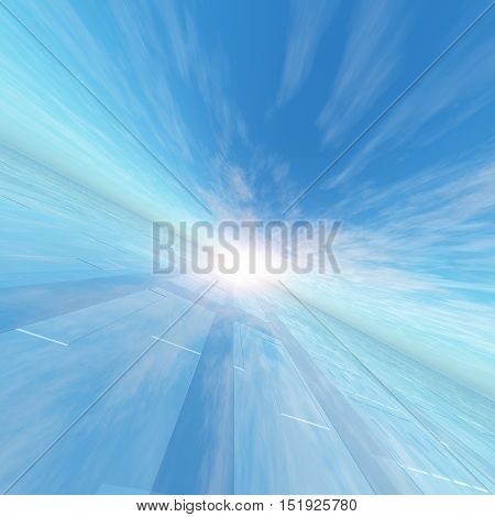 A background with technology lne array horizon and a surreal blue sky 3D rendering.