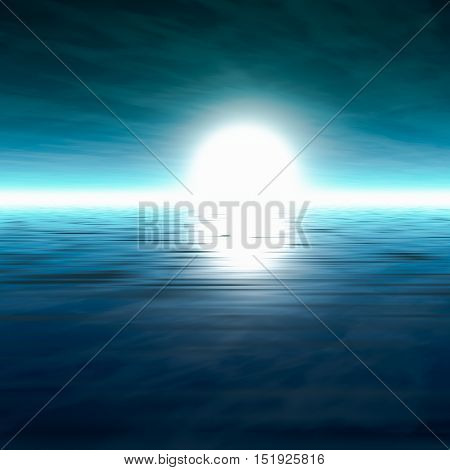 A background misty sea horizon with a blue cloudy sky 3D rendering.