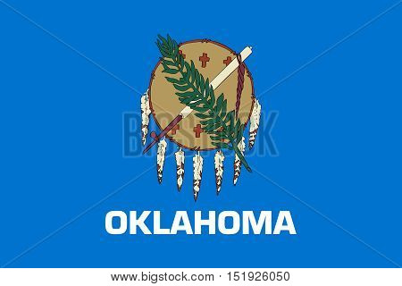 Oklahoman official flag symbol. American patriotic element. USA banner. United States of America background. Flag of the US state of Oklahoma in correct size and colors illustration
