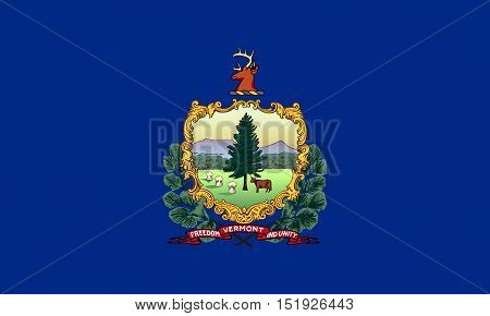 Vermonter official flag symbol. American patriotic element. USA banner. United States of America background. Flag of the US state of Vermont in correct size and colors illustration