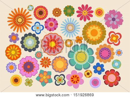 Vector illustration of the flowers design and colors during the sixties and the seventies (part 4)