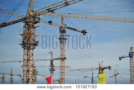 The rapid development of construction in China.