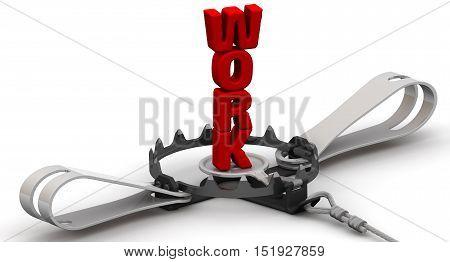 Dangerous work. Red word