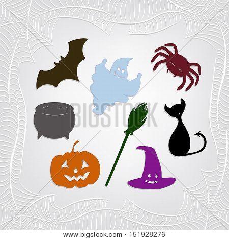 Set of color halloween characters and spiderweb frame. Cat, bat, pumpkin, spider, pot, hat, broom, ghost.  Vector illustration.