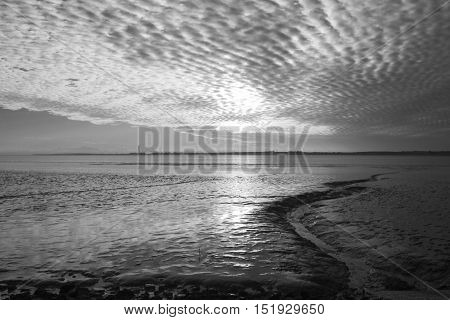 Black and white image of the view from Thorney Bay Canvey Island Essex England