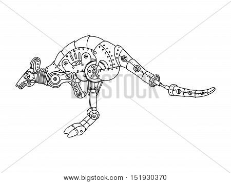 Steampunk style kangaroo. Mechanical animal. Coloring book for adult vector illustration.