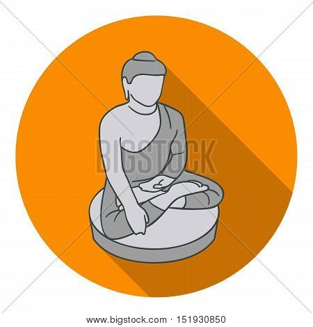 Sitting Buddha icon in flat style isolated on white background. South Korea symbol vector illustration.