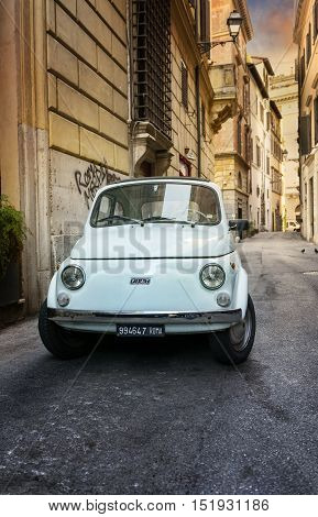 ROME - MAY 27: Fiat 500 parked on May 27 2016 in Rome. Fiat 500 was one of the most produced European cars ever with 3893294 units manufactured in years 1957-1975.