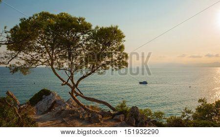 Sunset over the Mediterranean Sea in La Pineda in Spain