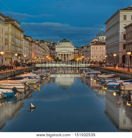 Looking down the Grand Canal in Trieste Italy