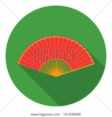 Folding fan icon in flat style isolated on white background. Theater symbol vector illustration