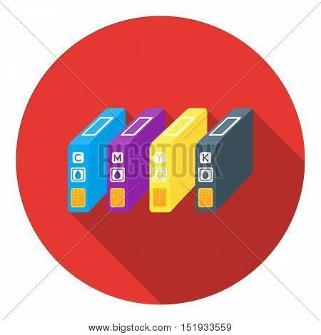 Ink cartridges in flat style isolated on white background. Typography symbol vector illustration.