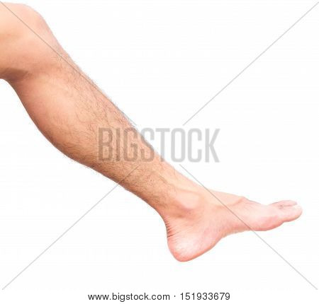Closeup legs men skin and men hairy legs for health care concept