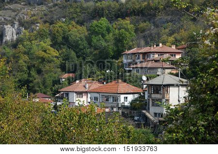 LOVECH BULGARIA - OCTOBER 15 2016: Residential buildings on the hill