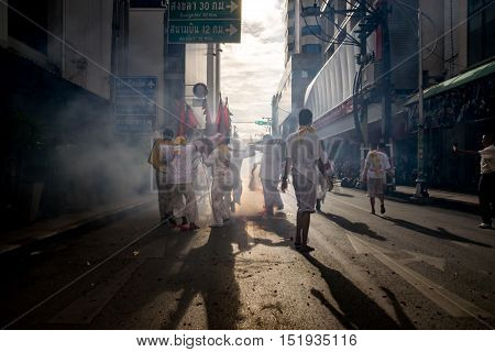 The parade gods In the Vegetarian Festival.People celebrate a vegetarian festival during the festival ritual mortification is practised to appease the Gods.Action photography Capturing movement.