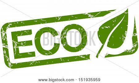 grunge stamp with frame colored green and text ECO