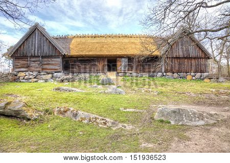 STOCKHOLM SWEDEN - May 04.2013: Ethnographic complex the open air museum Skansen located on Djurgarden Island in Stockholm. Barn