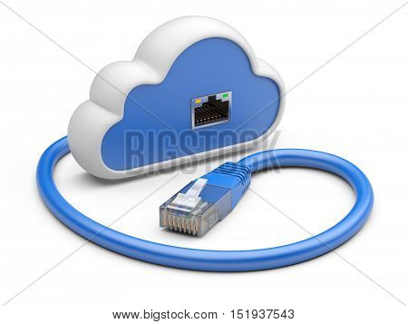 Cloud with a network plug. 3d illustration on a white background.