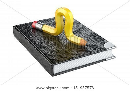 Yellow pencil worm in form caterpillar on a note book. 3d illustration on a white.