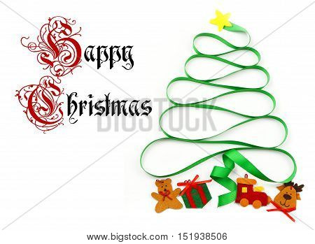 A cutout yellow star sits atop a swirling green ribbon that curls into a Christmas tree shape with felt cut out presents underneath on a white background. Text added.