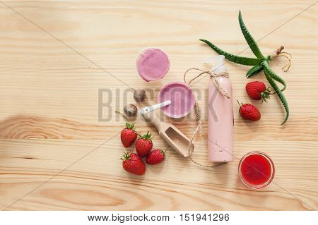 Handmade Cosmetics Set With Creme And Ingredients,