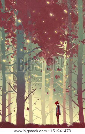 man standing in beautiful forest with falling leaves, illustration painting