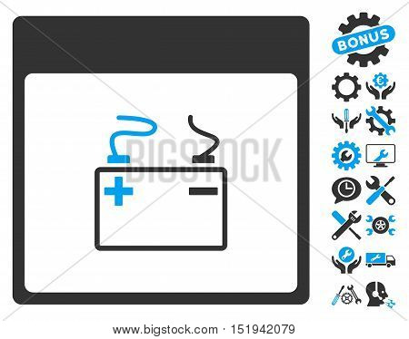 Accumulator Calendar Page pictograph with bonus options symbols. Vector illustration style is flat iconic symbols, blue and gray, white background.