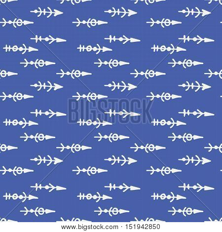 seamless pattern with hand drawn arrows. blue background
